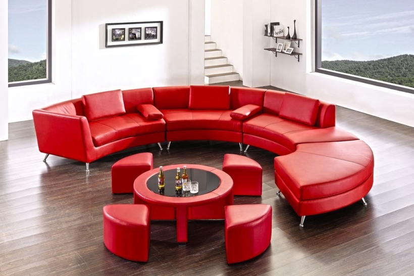 2-in-1 Design Leather Sectional with Coffee Table