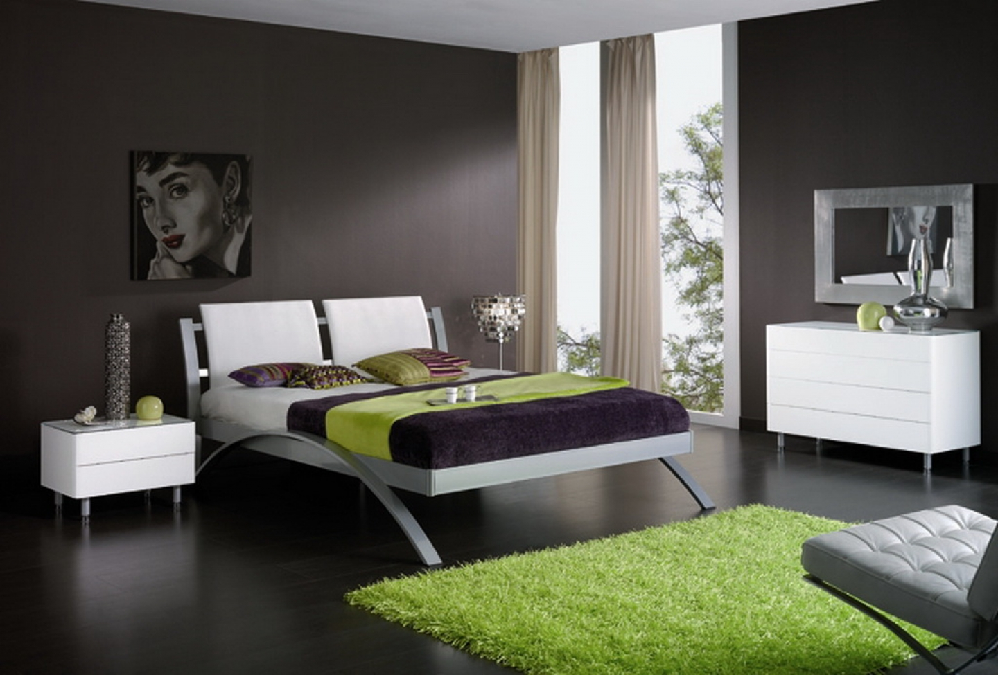 Single bed frame design - Bedroom Dazzling Black Themed Minimalist Bedroom Design Inspiration With Comfortable White Single Bed On Combined Unique Silver Bed Frame And Modern White