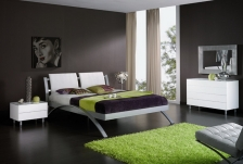bedroom-dazzling-black-themed-minimalist-bedroom-design-inspiration-with-comfortable-white-single-bed-on-combined-unique-silver-bed-frame-and-modern-white-nightstand-table-also-soft-green-rug-minimali