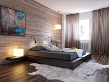 Viewing-modern-minimalist-bedroom-design-ideas-black-bed-wood