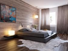 Viewing-modern-minimalist-bedroom-design-ideas-black-bed-wood